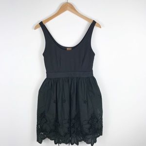 Ali & Ro Black Fit n Flare Black Embroidered Dress
